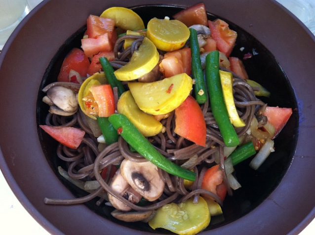 Soba Noodles with Fresh Vegetables and Sesame Infused Sweet and Spicy Sauce