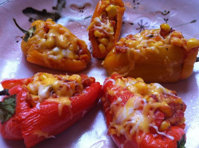 Corn and Cheese Stuffed Sweet Peppers
