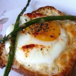 Baked Egg Topped with Asparagus on Toast