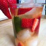 Iced Lychee Mint Green Tea with Strawberries