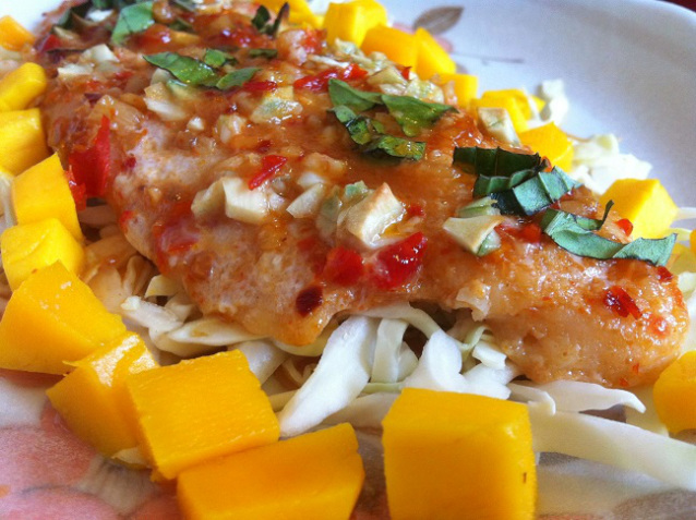 Garlic Asian Glazed Swai Fillet with Fresh Mango
