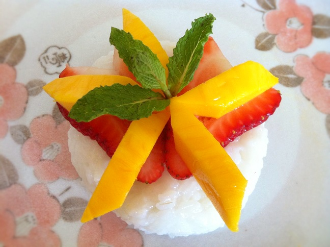 Strawberry Mango Coconut Sticky Rice - Cooking with a Wallflower