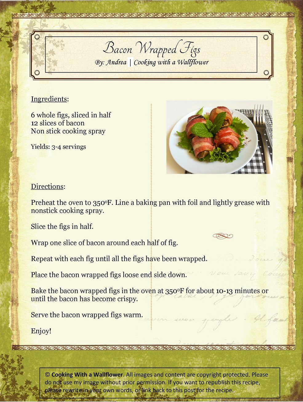 Bacon Wrapped Figs Recipe Card