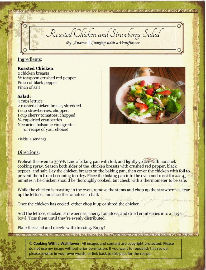 Roasted Chicken and Strawberry Salad Recipe Card