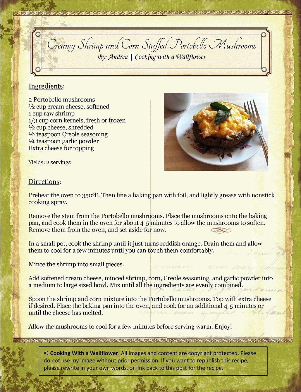 Creamy Shrimp and Corn Stuffed Portobello Mushrooms Recipe Card