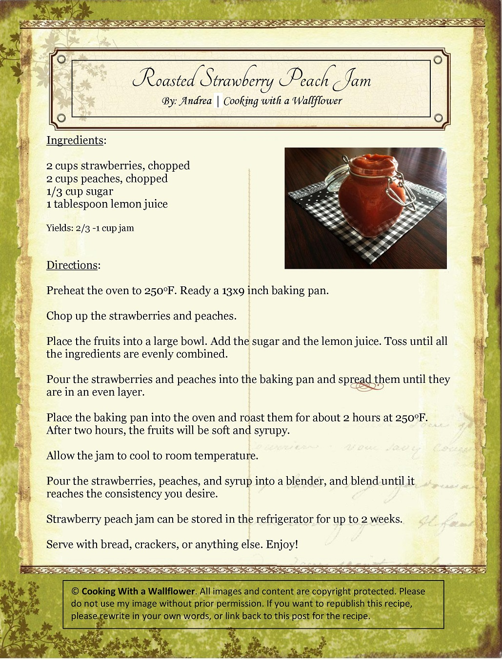 Roasted Strawberry Peach Jam Recipe Card
