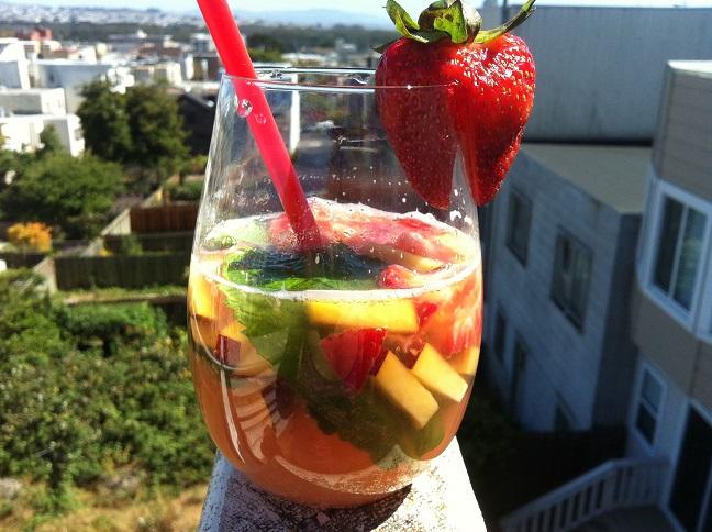 Peach Strawberry Mint Infused Club Soda