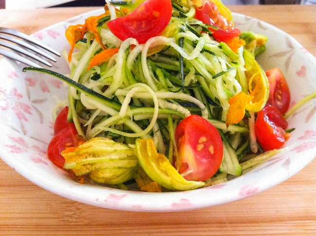 Zucchini and Squash Blossom Salad | Cooking with a Wallflower