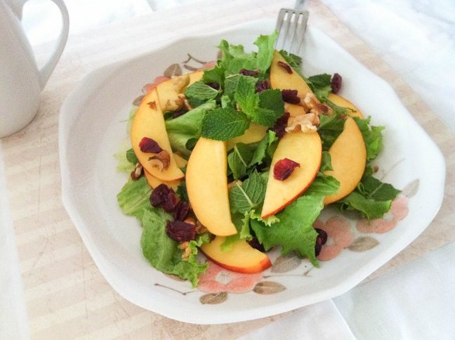 Nectarine, Walnut, and Dried Cranberry Salad