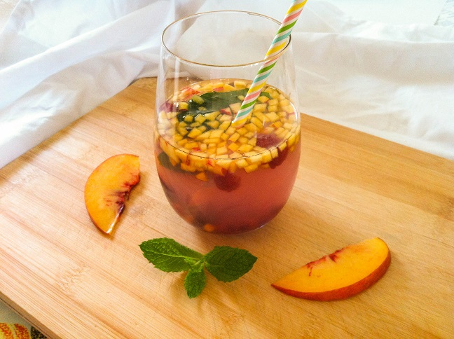 Raspberry Peach Mint Coconut Water   Cooking with a Wallflower