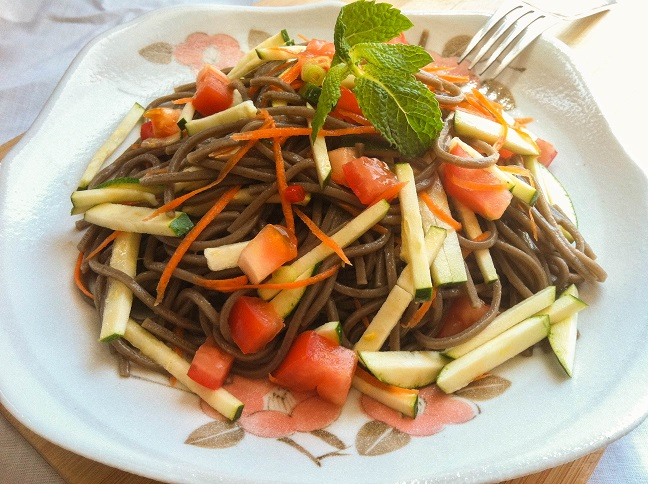 Soba Noodle Salad with Spicy Soy Lime Dressing | Cooking with a Wallflower