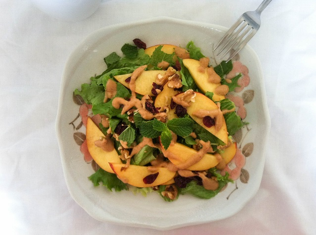 Nectarine, Walnuts, and Dried Cranberry Salad | Cooking with a Wallflower