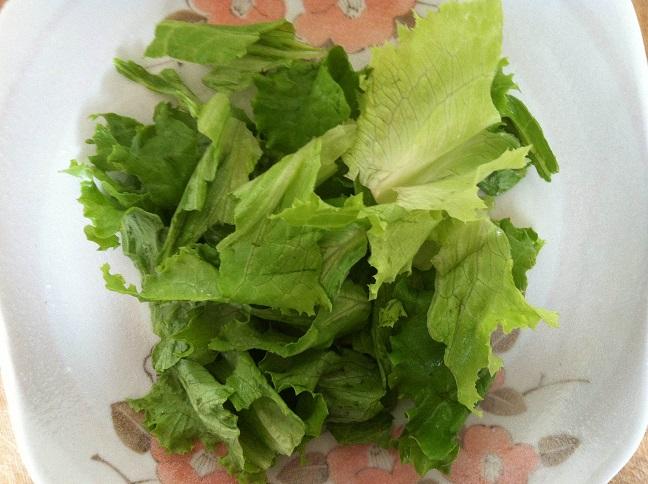 Torn lettuce