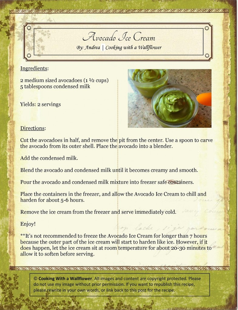 Avocado Ice Cream Recipe Card