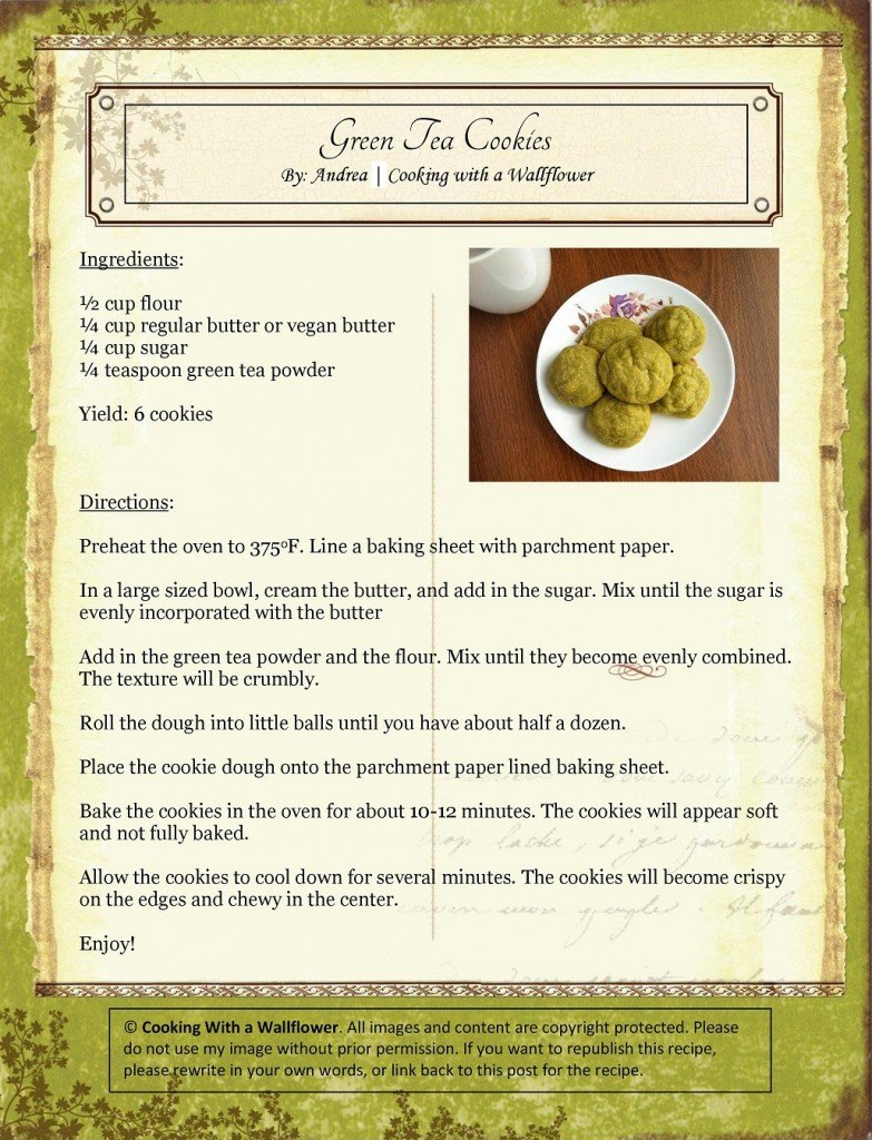 Green Tea Cookies Recipe Card