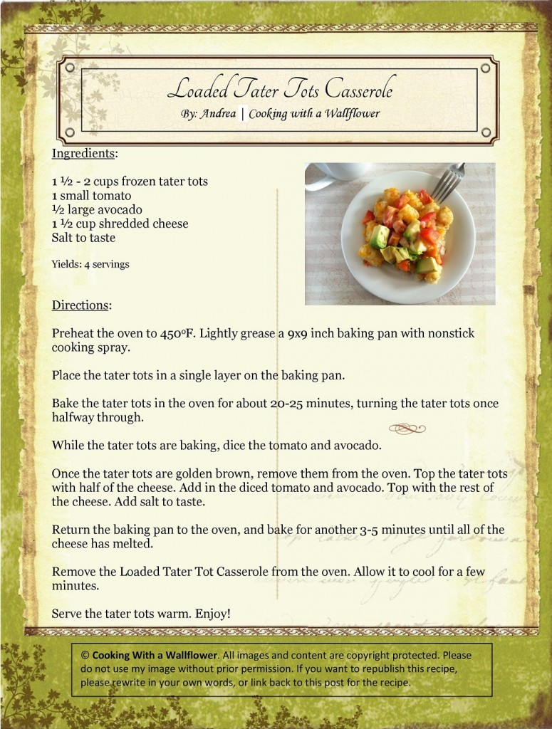 Loaded Tater Tot Casserole Recipe Card