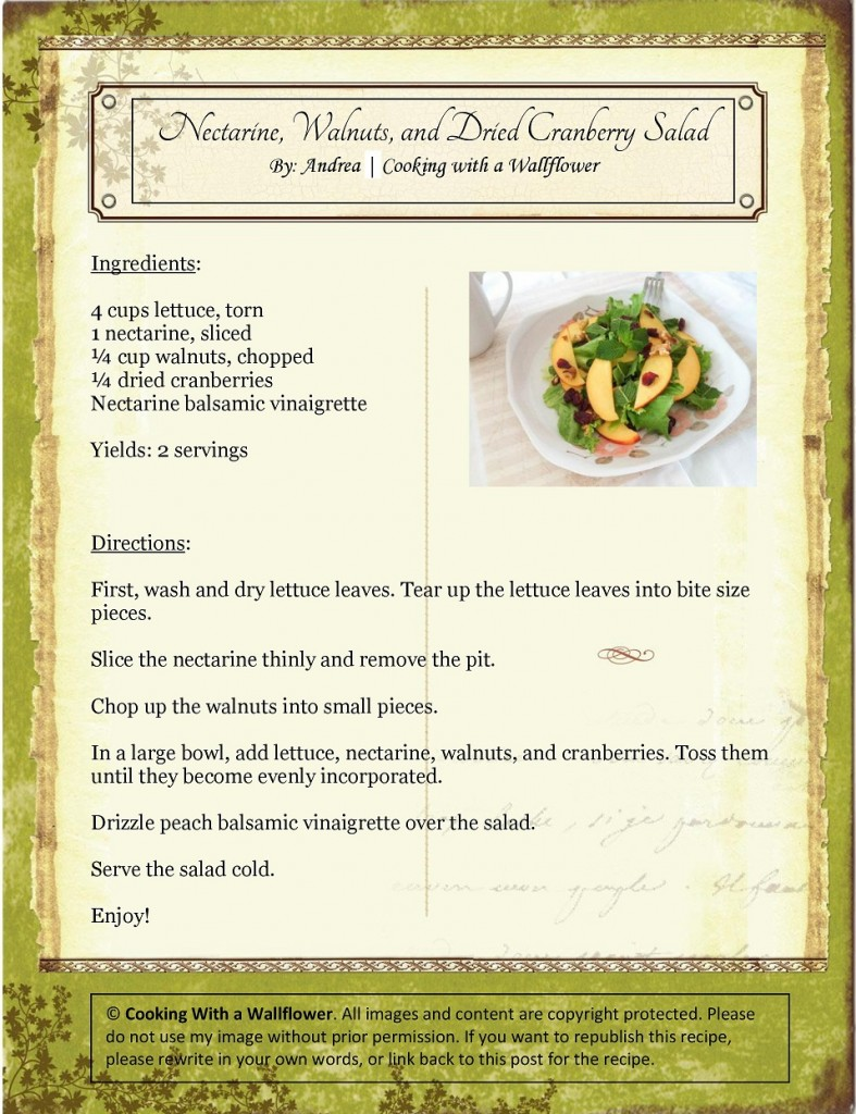 Nectarine, Walnuts, and Dried Cranberry Salad Recipe Card