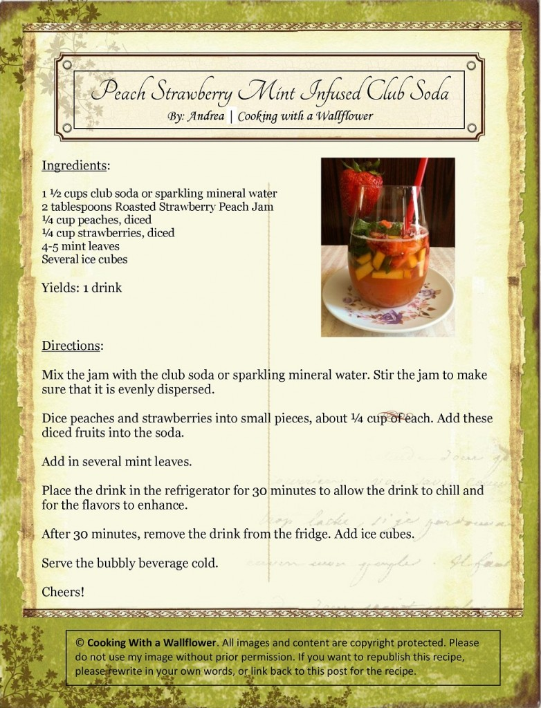 Peach Strawberry Mint Infused Club Soda Recipe Card