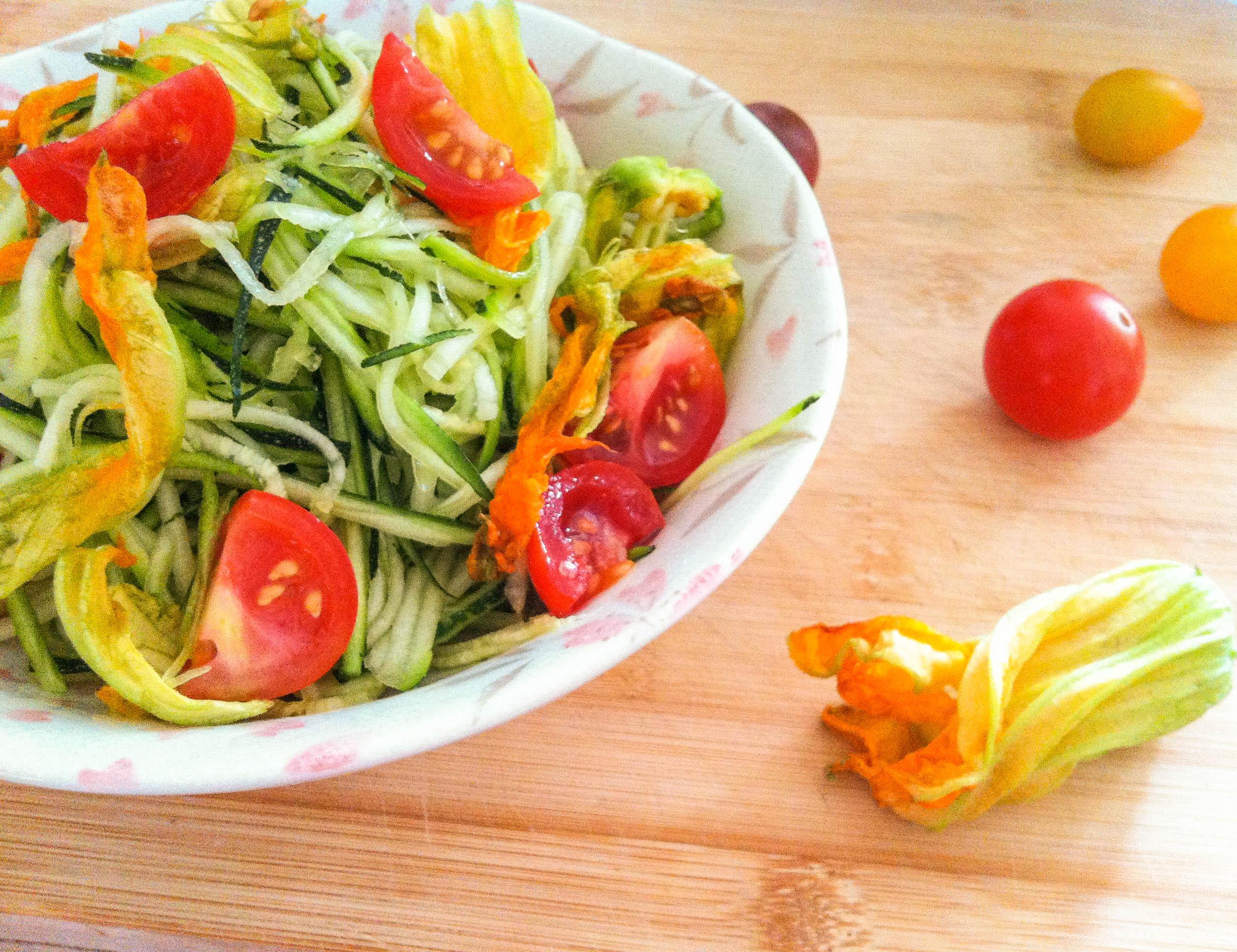 Zucchini and Squash Blossom Salad