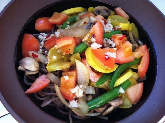 Soba Noodles topped with Veggies