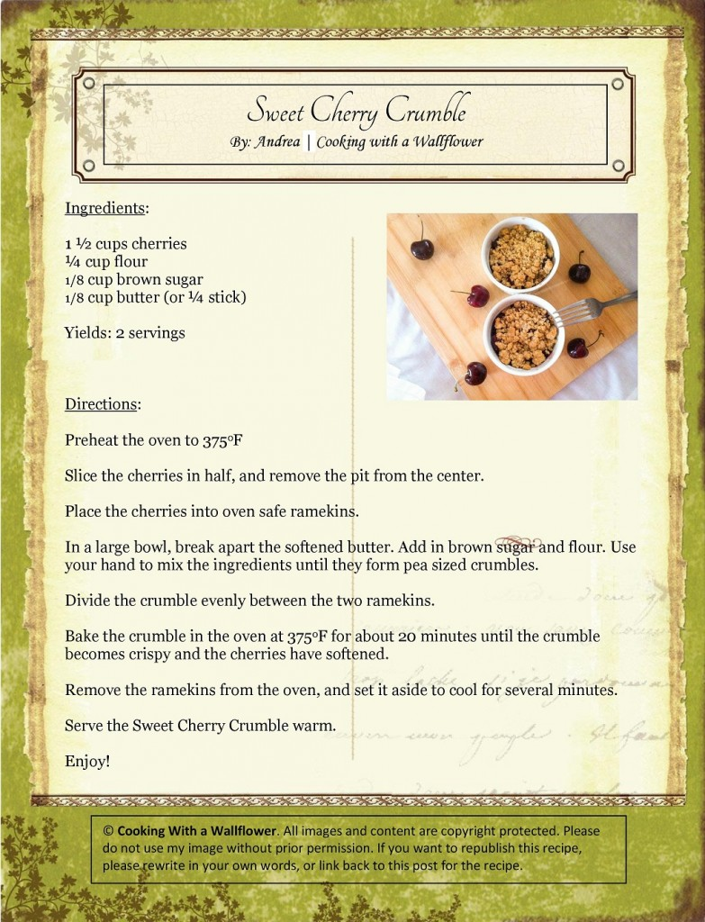 Sweet Cherry Crumble Recipe Card