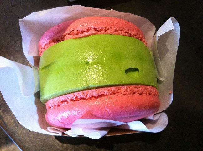Strawberry Macaron with green tea ice cream.