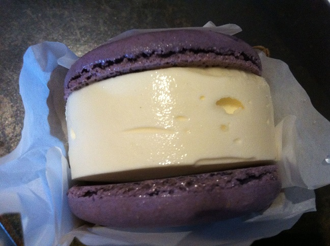 Lavender macaron with vanilla ice cream.