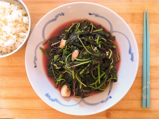 Garlic Red Amaranth Stir Fry | Cooking with a Wallflower