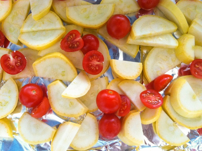 Summer Squash and Sliced Grape Tomatoes
