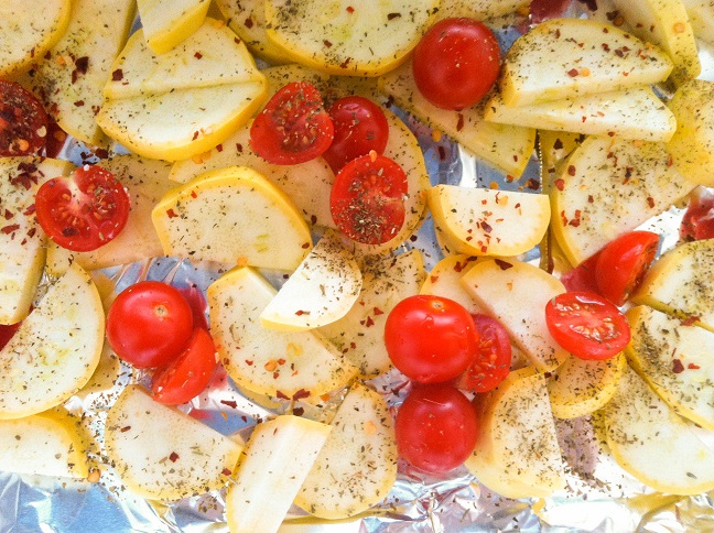 Seasoned Summer Squash and Grape Tomatoes