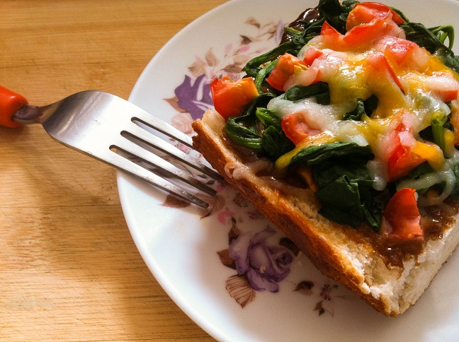 Asian-inspired Spinach Tomato French Bread Pizza