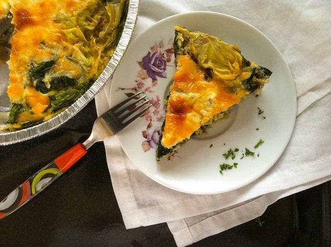 Crustless Spinach and Artichoke Quiche