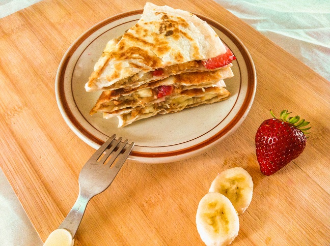 Strawberry Banana Peanut Butter Quesadillas | Cooking with a Wallflower