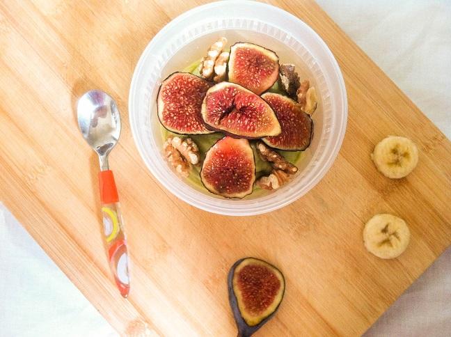 Avocado Coconut Banana Bowl with Roasted Figs and Walnuts