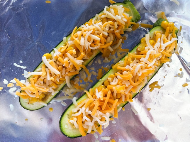 Cajun Corn and Cheese Stuffed Zucchini Boats | Cooking with a Wallflower