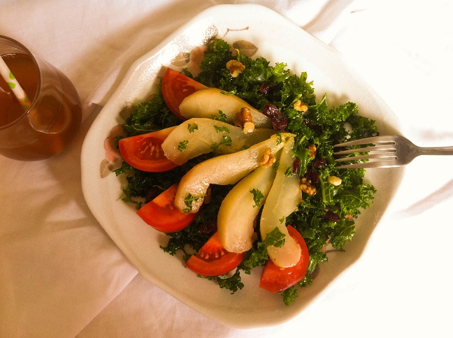 Autumn Kale Salad with Poached Pears