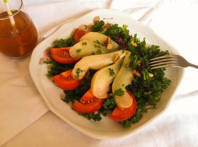 Autumn Kale Salad with Poached Pears | Cooking with a Wallflower