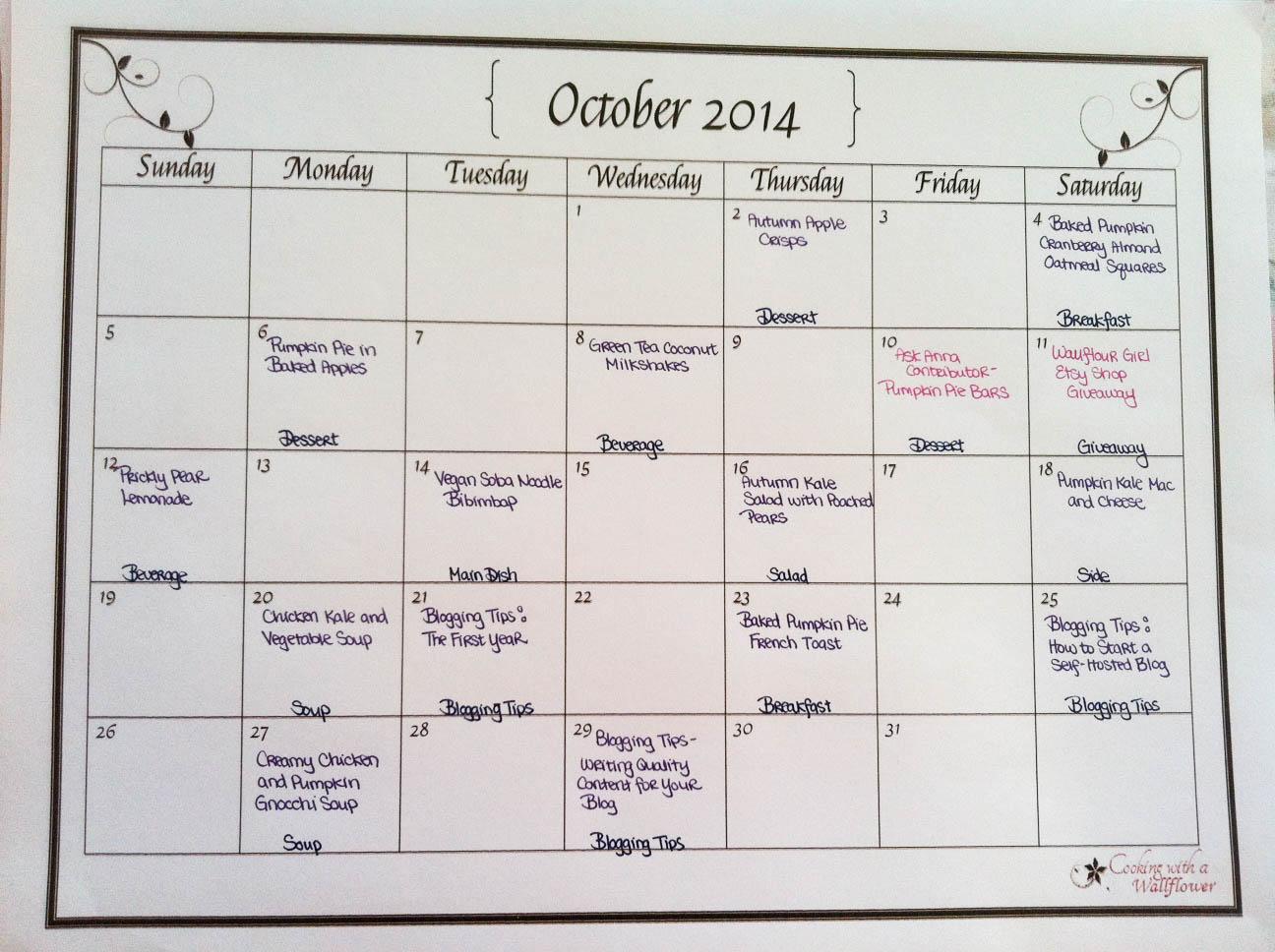 October Blog Planning