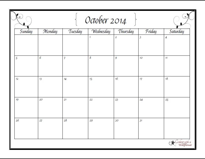 October Printable