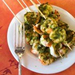 Creamy Pesto Shrimp Skewers