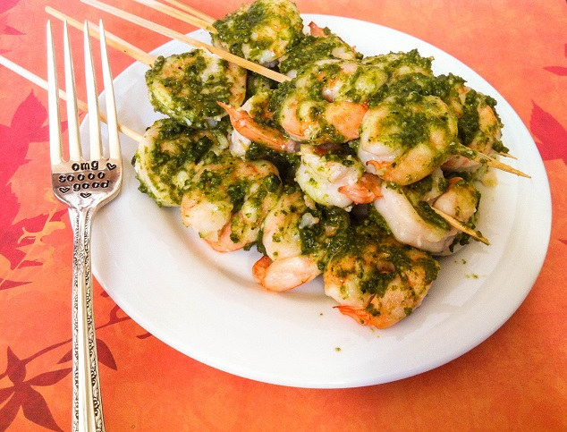 Creamy Pesto Shrimp Skewers | Cooking with a Wallflower