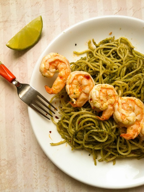 Spicy Lime Shrimp over Pesto Pasta | Cooking with a Wallflower