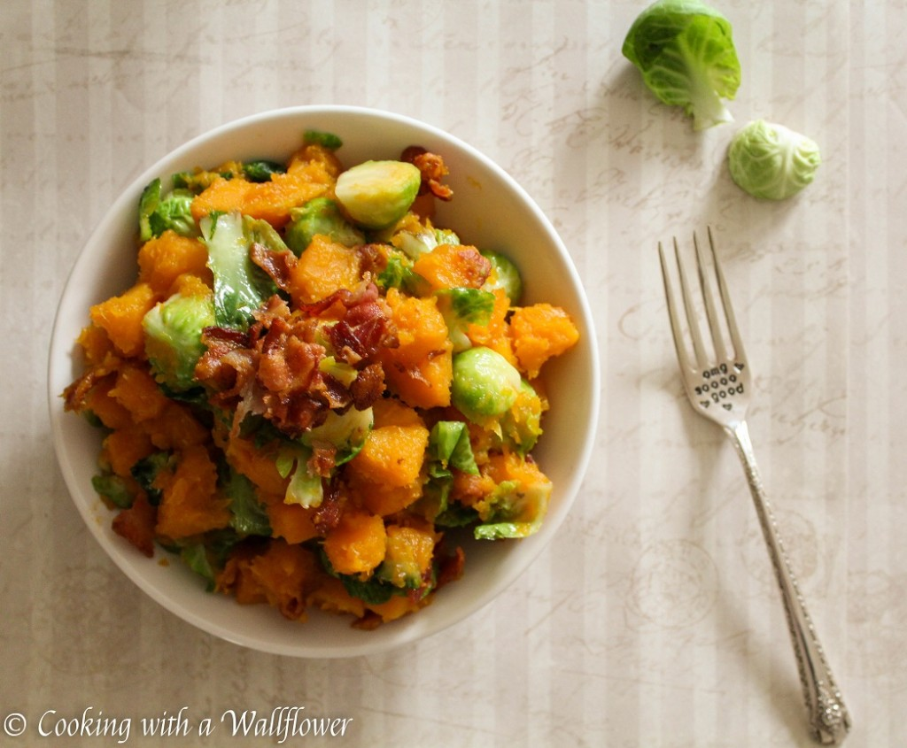 Butternut Squash, Bacon, and Brussels Sprouts Hash  | Cooking with a Wallflower