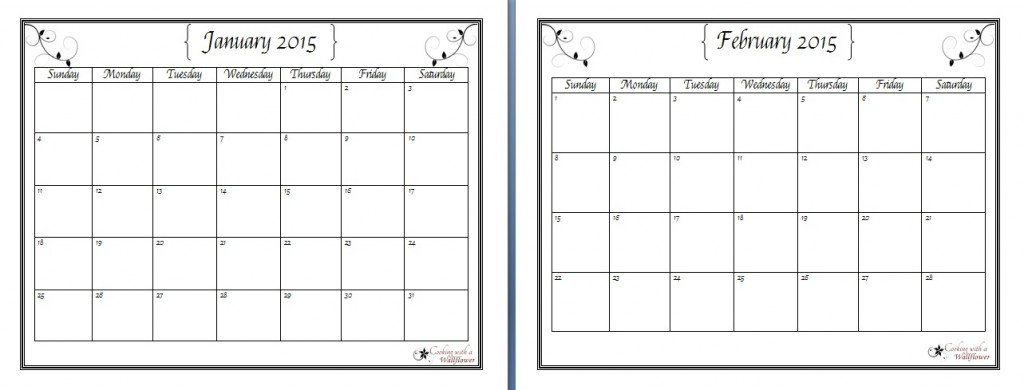 Monthly Planner | Cooking with a Wallflower