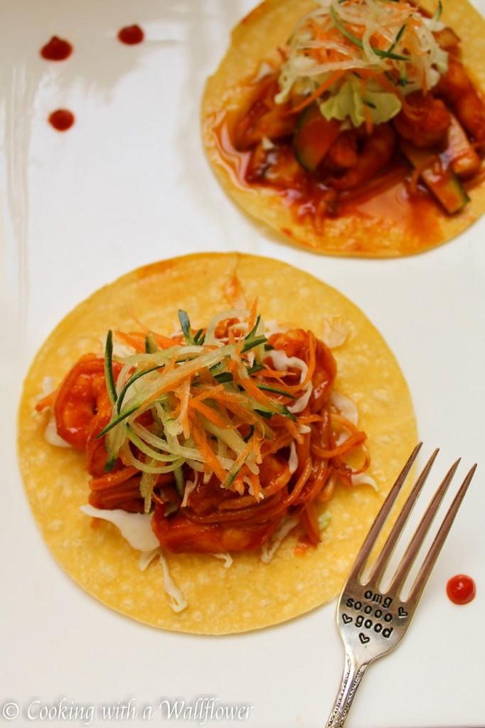 Shrimp Korean Tacos | Cooking with a Wallflower