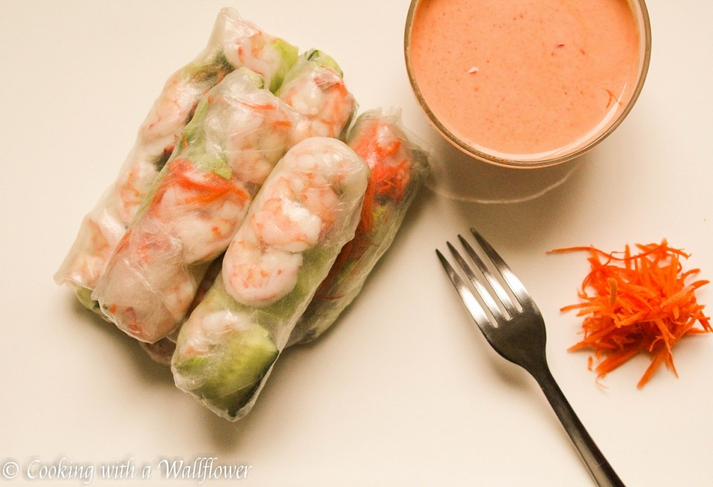 Shrimp Spring Rolls with Creamy Sweet and Spicy Sauce   Cooking with a Wallflower