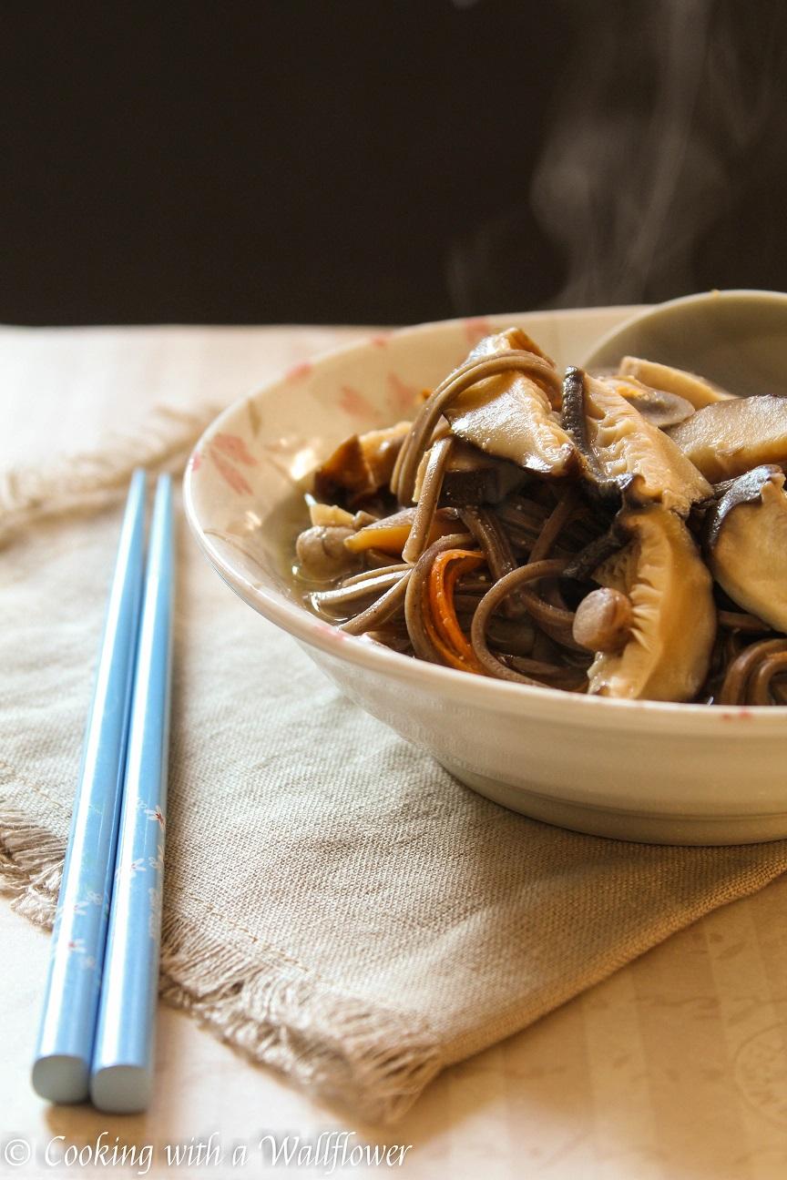 Three Mushrooms Soba Noodle Miso Soup