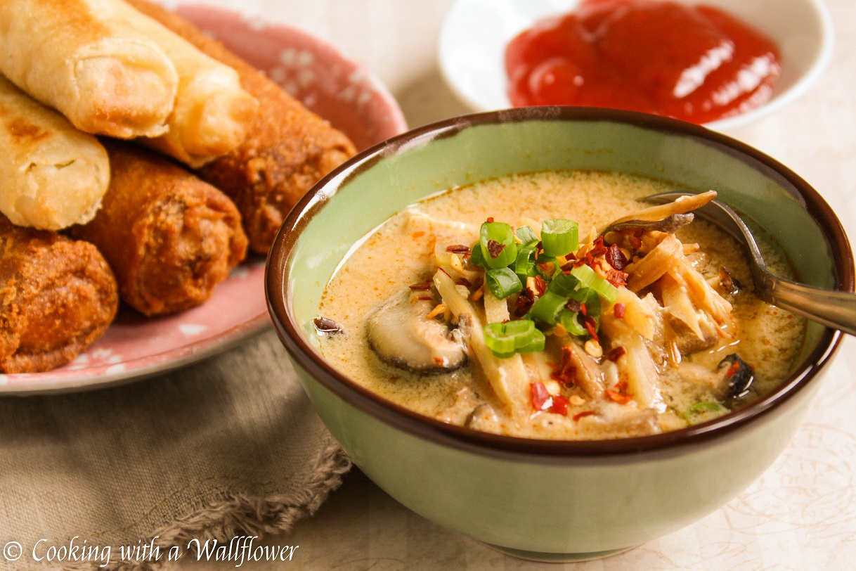 Chinese Hot and Sour Soup with Eggrolls