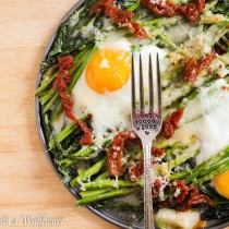 Baked Eggs over Asparagus and Spinach   Cooking with a Wallflower