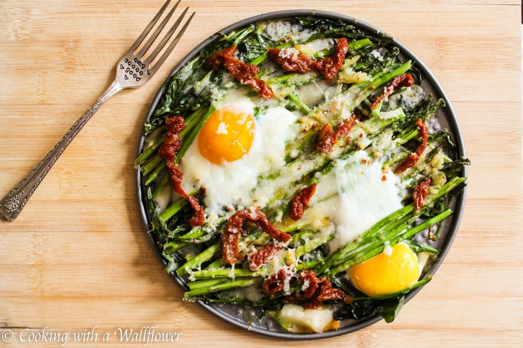 Baked Eggs over Asparagus and Spinach | Cooking with a Wallflower